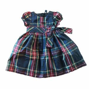 Babygap plaid short sleeve formal dress with bow
